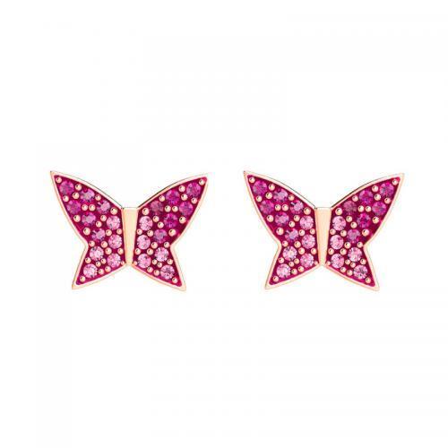 新品折扣价到手517元!SWAROVSKI施华洛世奇春季新品LILIA粉色蝴蝶穿孔耳钉!