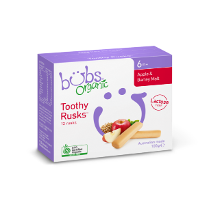 【澳洲CD药房】Bubs 婴幼儿磨牙棒饼干辅食有机苹果大麦无乳糖 100g