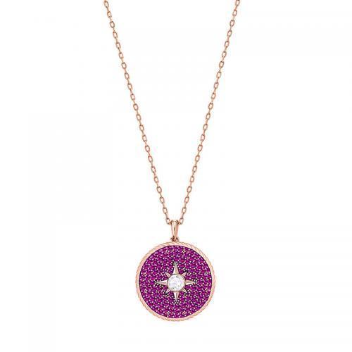 春季新品!SWAROVSKI施华洛世奇春季新品LOCKET圆形吊坠项链玫粉色 到手价1060元!