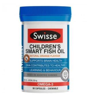 【澳洲CD药房】Swisse 儿童欧米伽鱼油益智咀嚼胶囊 90粒 (增强免疫力促进大脑发育)