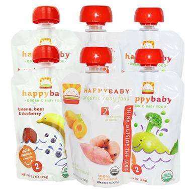 【美国Babyhaven】Happy Baby 果泥套装 花椰菜豌豆香梨2袋+香蕉甜菜蓝莓2袋+杏 红薯2袋 99g/袋