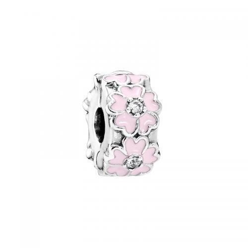 PANDORA潘多拉925银粉色樱草花固定夹 现价266元!