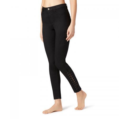 Calzedonia黑色牛仔裤裤脚系带M码 现价191元!
