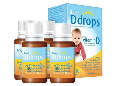 【4瓶装】Ddrops 婴儿维生素D3滴剂 90滴/瓶 400IU
