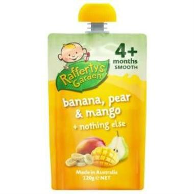 【澳洲PO药房】Rafferty&#039s Garden 拉芙迪 香蕉梨芒果果泥 4个月+ 120克