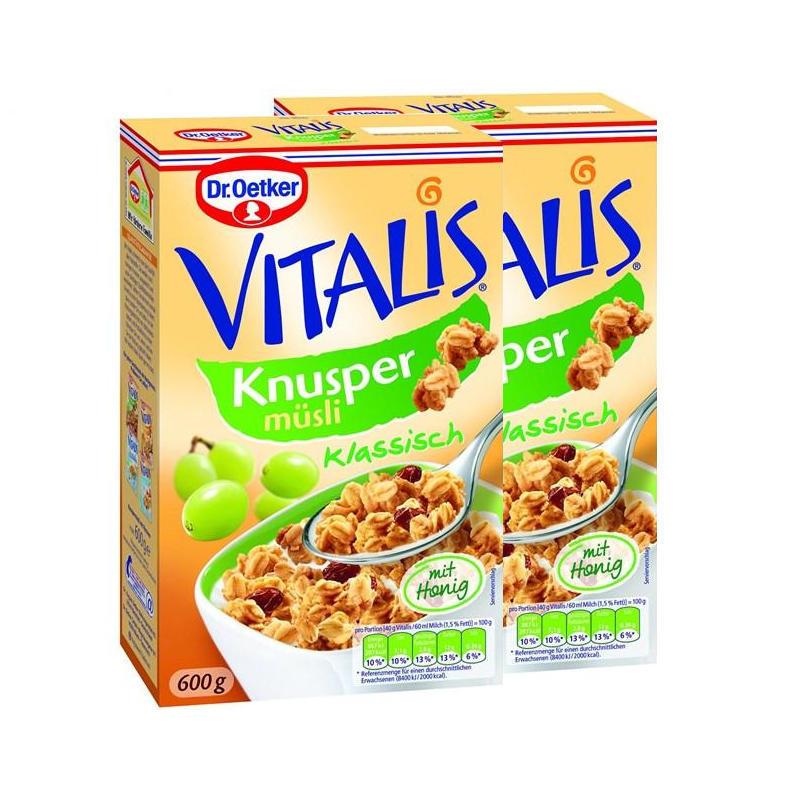 【德国BA】Dr.Oetker 欧特家博士 Vitalis 经典葡萄干蜂蜜酥脆早餐麦片 两盒装 2x600g