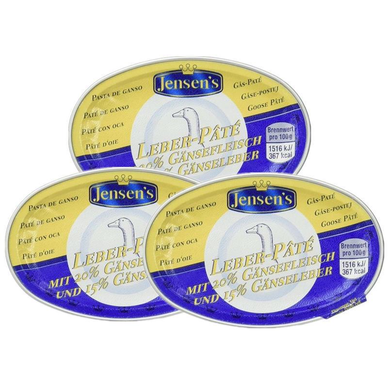 【德国BA】Jensen's 简尼 婴幼儿辅食鹅肝泥酱 3盒装 20%鹅肉+15%鹅肝 8M+ 3x80g