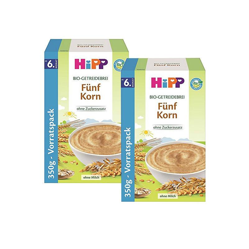 【德国BA】HIPP喜宝 五种谷物米粉 6M+ 350g 五谷米粉(燕麦,小麦,大麦,斯佩尔特小麦和黑麦)2盒