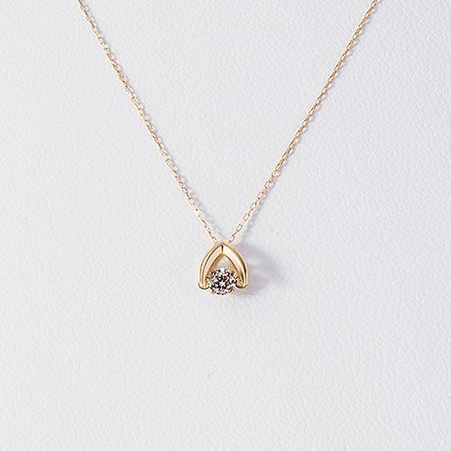 【520专场满10000日元包邮】松屋原创 Dancing Stone 钻石白金项链 K18 0.1克拉