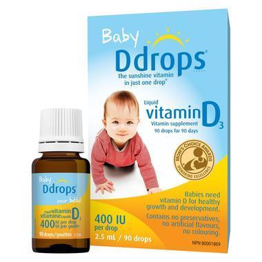【美国Babyhaven】Ddrops 婴儿维生素D3滴剂 90滴/瓶 400IU
