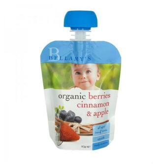 【澳洲CD药房】Bellamy's 贝拉米 婴幼儿有机浆果肉桂苹果水果泥 90g(4个月以上)