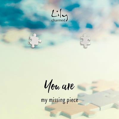 【海豚村】【包邮装】Lily charmed 银色拼图块耳钉