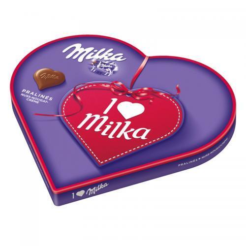 德国直邮 Milka妙卡榛子奶油巧克力爱心礼盒装 187g 限时促销仅售45元!