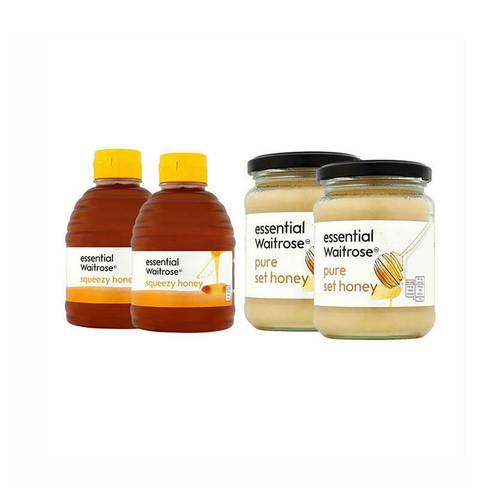 Waitrose 营养蜂蜜系列 纯结晶蜂蜜-玻璃罐装 2x454g/瓶+纯清澈蜂蜜-挤压罐装 2x454g/瓶