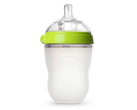 Comotomo 可么多么 自然感觉硅胶奶瓶 绿色 8盎司/250毫升 配中流量奶嘴(适合3-6个月)