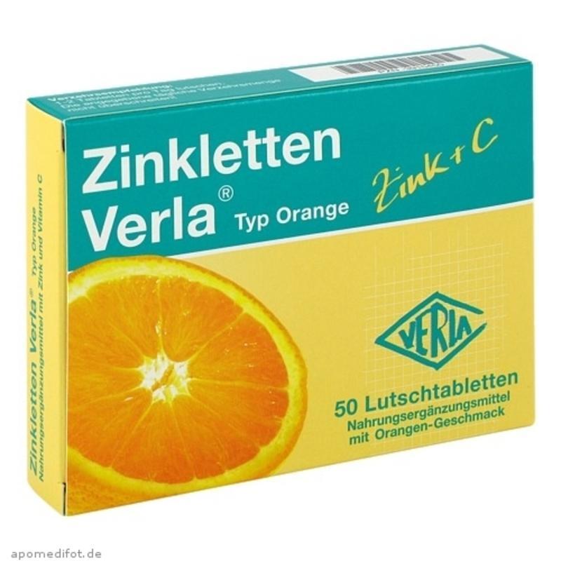 【德国BA】Zinkletten Verla 儿童/孕妇补锌+维生素C 橙味咀嚼片 50粒