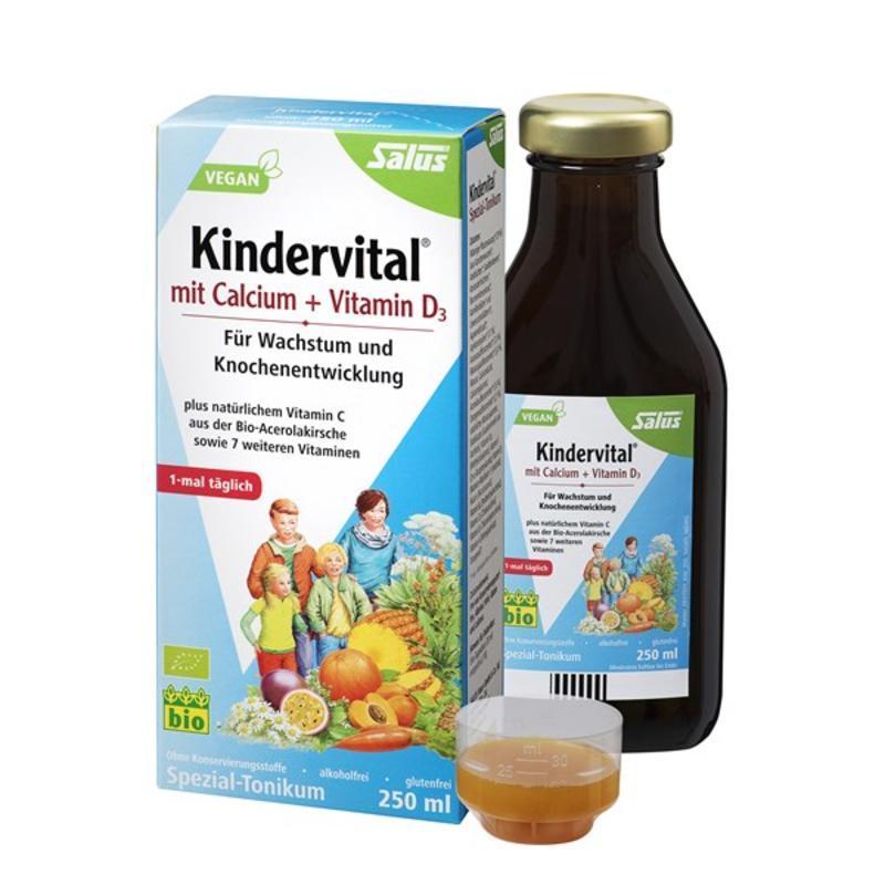 【德国BA】Salus Kindervital 钙+维生素D3 儿童有机果蔬营养液 250ml