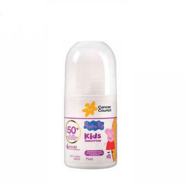 【海豚村】CANCERCOUNCIL 澳美皙 小猪佩奇儿童防晒霜滚珠SPF50+75ml/瓶