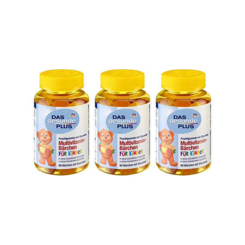【3瓶特惠装】DM Das gesunde Plus 儿童小熊造型多种维生素软糖 4岁+3