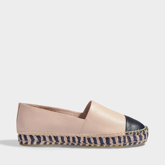 Tory Burch ESPADRILLES PLATEFORMES 拼色草编鞋
