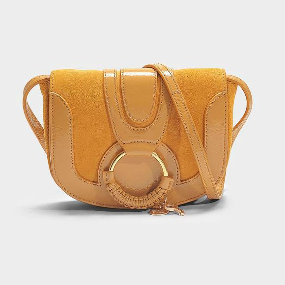 See by Chloe HANA MINI 拼接斜挎包+Logo Stud Hinge Bracelet in Tory Gold Stainless Steel