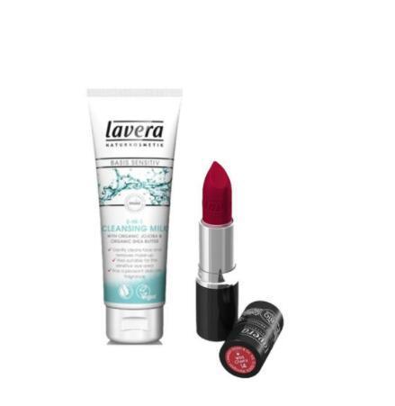 【荷兰DOD】【14:00限时秒杀】Lavera 拉薇 有机2合1卸妆洁面乳&amp有机高端唇膏
