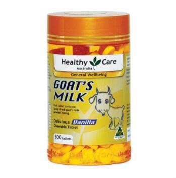 【澳洲CD药房】Healthy Care 天然山羊奶儿童钙片300粒(香草味)
