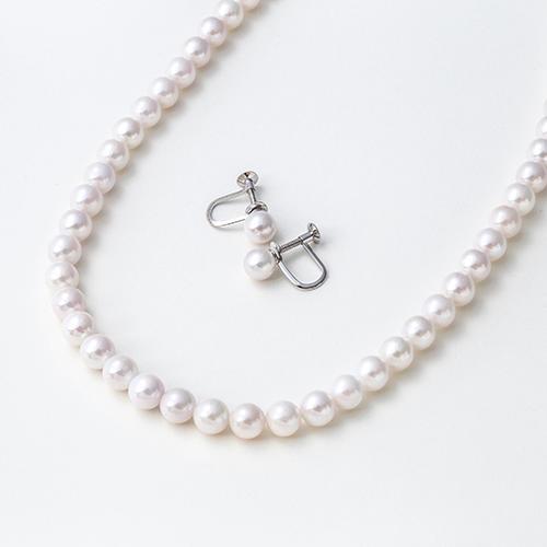 【限时免邮】【Maria珍珠8折】Maria 6.5mm阿古屋珍珠项链&amp耳夹 粉白色