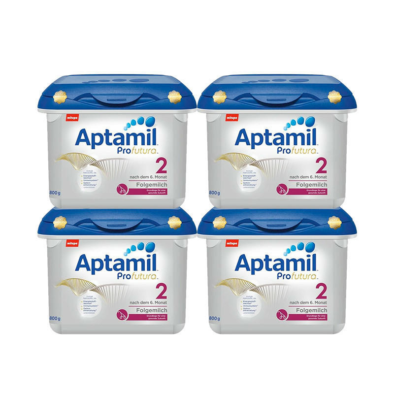 【德国BA】【限量补货+满减】Milupa Aptamil 爱他美白金版婴儿配方奶粉 2段 6月+ 800g 4盒装