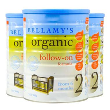 【3罐包邮装】Bellamy&#039s 贝拉米 有机婴幼儿奶粉 900g 2段