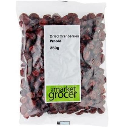 【澳洲PO药房】The Market Grocer 天然蔓越莓干 250g (整粒烘焙 酸甜可口 开袋即食)