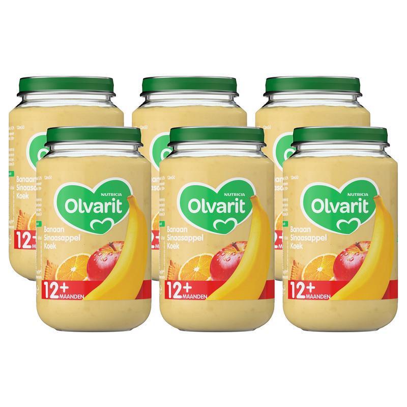 【荷兰DOD】Olvarit 婴幼儿辅食 苹果香蕉橘子水果泥(适合12+个月以上婴幼儿)6瓶200g
