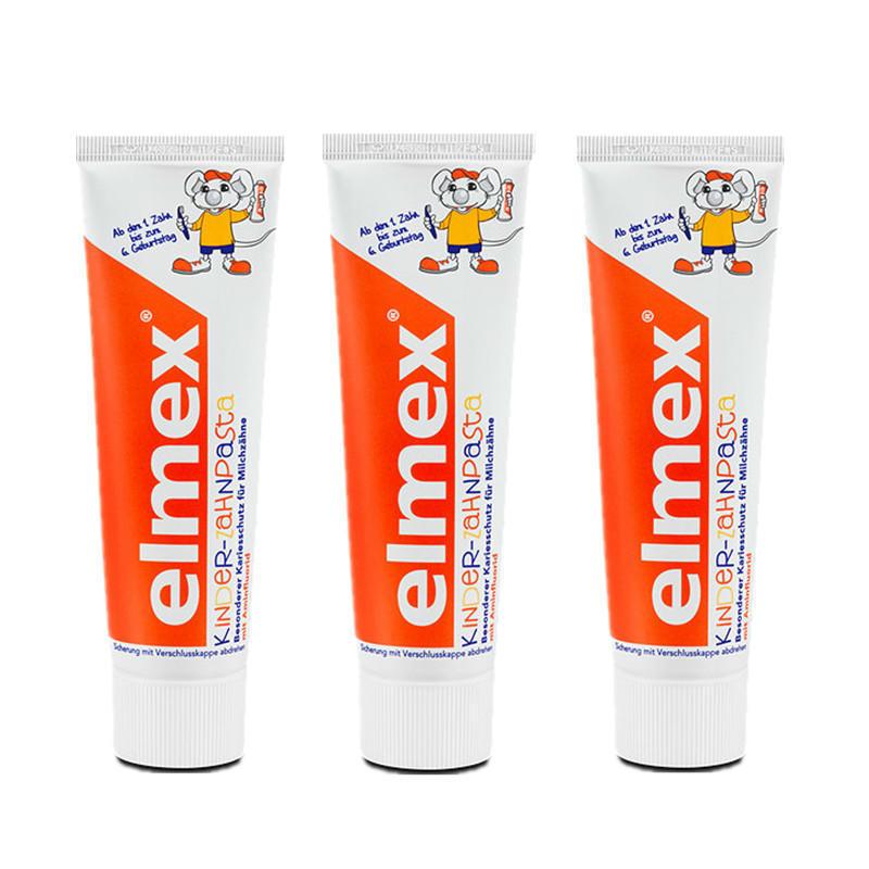 【德国BA】Elmex 易学 德国氟化胺儿童乳牙专用牙膏 可吞咽牙膏 1-6岁 50ml 3支装