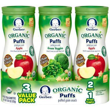 【美国Babyhaven】Gerber嘉宝 有机星星泡芙套装 蔬菜味+苹果味 3罐装 42g/罐