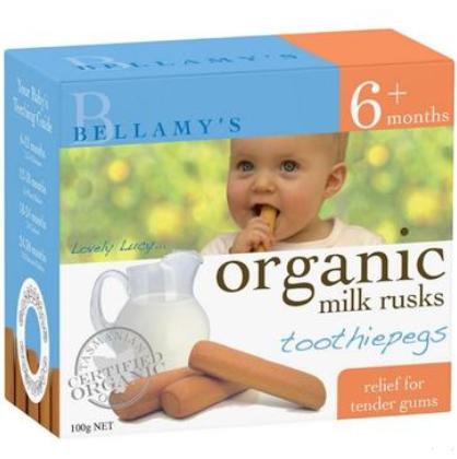 【澳洲PO药房】Bellamy&#039s 贝拉米 婴幼儿有机无糖磨牙饼干 100g (6个月以上)