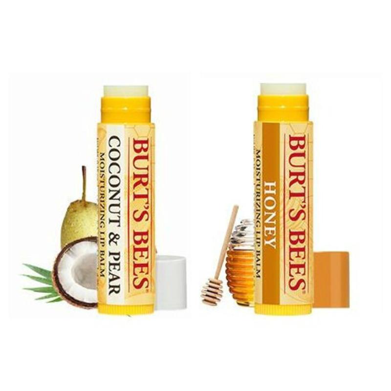 【荷兰DOD】Burt&#039s Bees 小蜜蜂 蜂蜡皇牌保湿润唇膏4.25g + 椰油&amp梨天然保湿润唇膏 4.25g 组合装