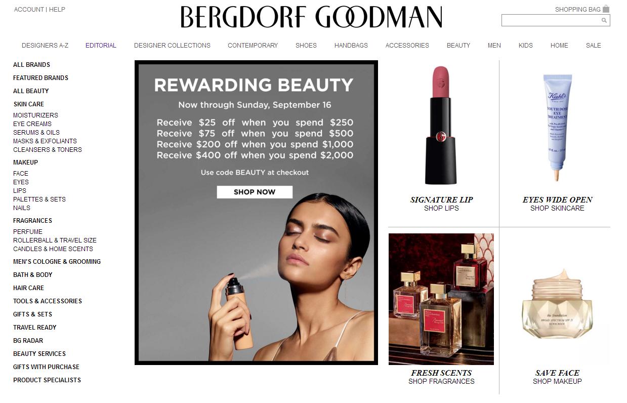 Bergdorf Goodman官网美容美妆盛典 半年一次