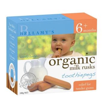 【澳洲CD药房】Bellamy&#039s 贝拉米有机牛奶面包干磨牙棒 100g