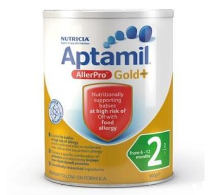 澳洲Aptamil爱他美金装婴幼儿配方奶粉 牛奶过敏专用 AllerPro深度水解(2段)6-12个月900g