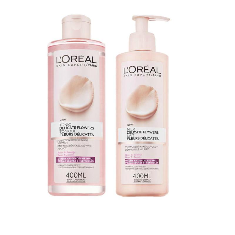 【荷兰DOD】L'Oreal Paris 巴黎欧莱雅 玫瑰茉莉花卸妆水400ml+玫瑰茉莉卸妆乳  40