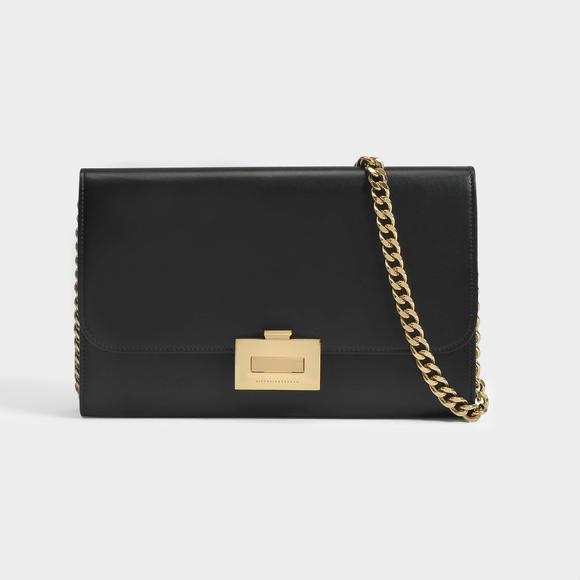 Victoria Beckham Sac Wallet On Chain en Cuir d'Agneau Noir