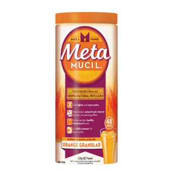 【澳洲CD药房】Metamucil 吸油纤维素膳食纤维颗粒 香橙味 48次 528g (无糖零脂肪 排毒)