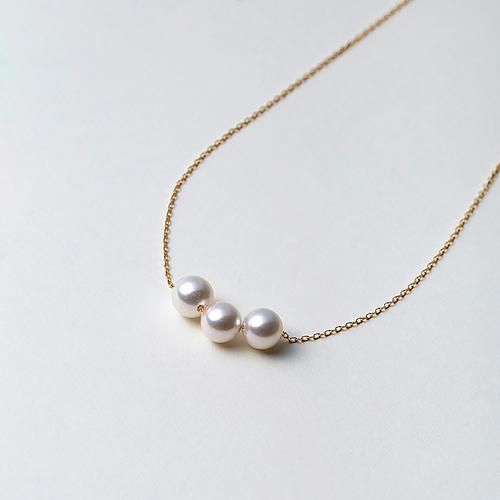 【松屋百货】Maria 7mm阿古屋花珠K18链 三颗珠
