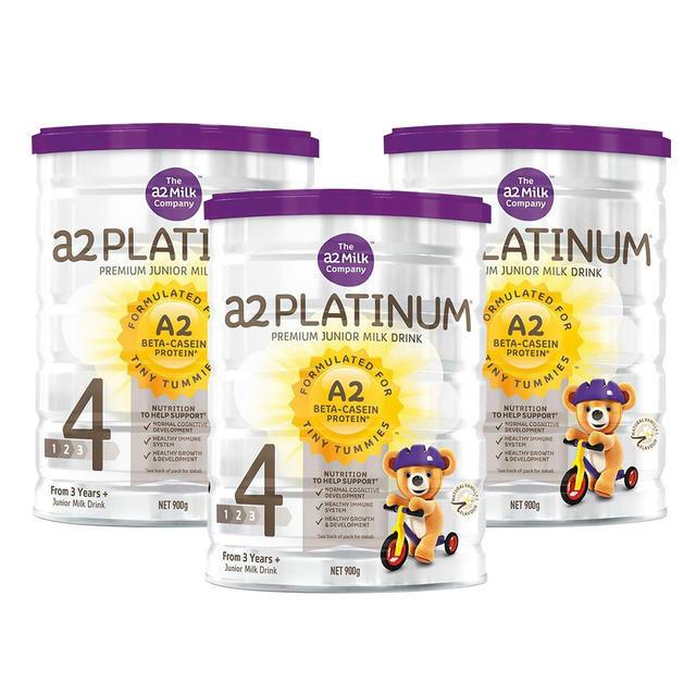 【3罐特惠包邮装】A2 白金系列4段婴儿配方奶粉 900g/罐(3岁+)3