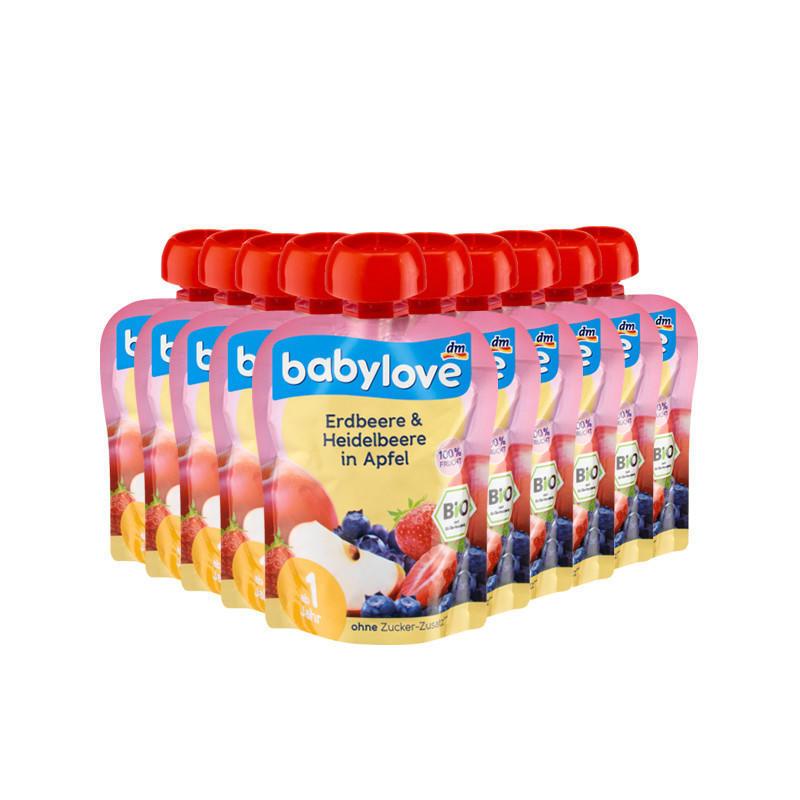 【10件装】DM超市 Babylove 100%有机水果(草莓蓝莓苹果 )吸吸乐 90 g 适合1岁以上宝宝