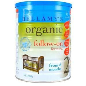 Bellamy&#039s 贝拉米婴幼儿有机奶粉2段 6-12个月900g 6罐包邮装