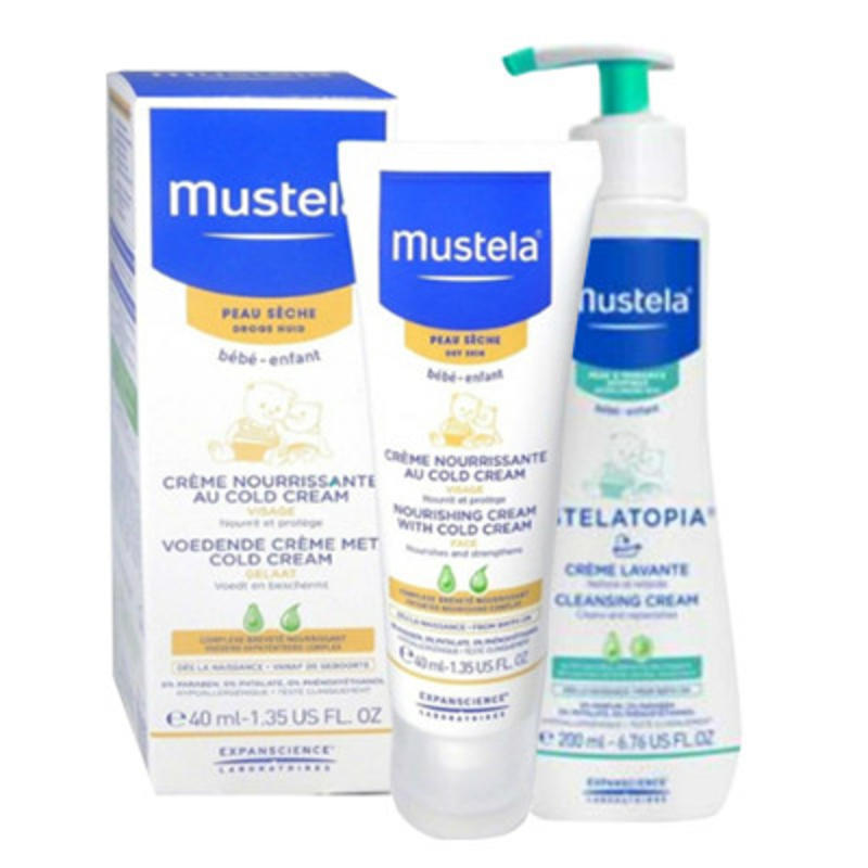 【荷兰DOD】Mustela 妙思乐 宝宝营养保湿面霜 40ml+ Mustela 妙思乐 二合一沐浴洗发乳 200ml 组合装