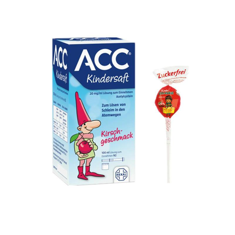 Hexal 赫素 ACC儿童糖浆 2岁+ 100ml+Em-eukal 索丹博士 润喉维生素儿童棒棒糖 10g仅需€2.70