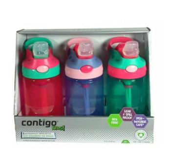 【澳洲CD药房】Contigo 康迪克防漏儿童水杯414mlX 3 不含BPA (女宝版)