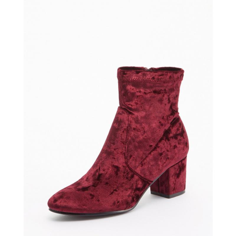 GLADD日本闪购女鞋丝绒正红短靴